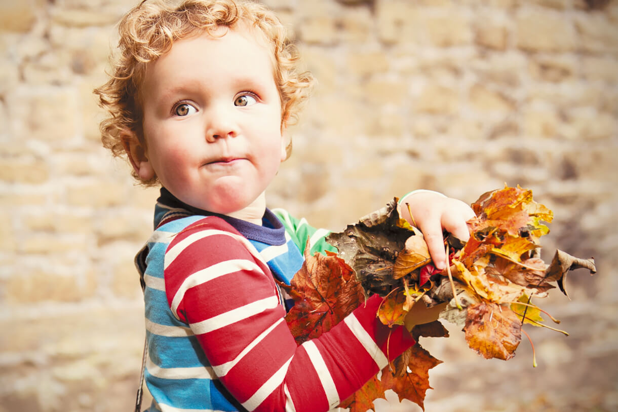 little boy picking up the Autumn leaves