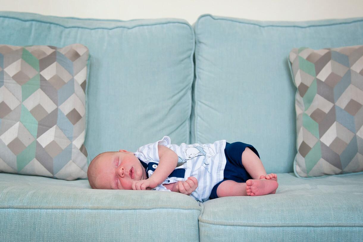 Baby boy on the sofa asleep