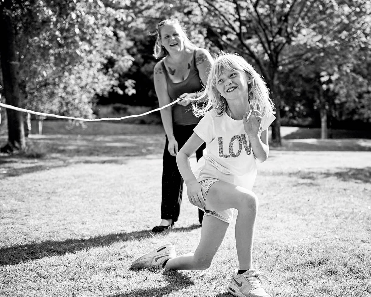 Playing with a skipping rope on her photo shoot