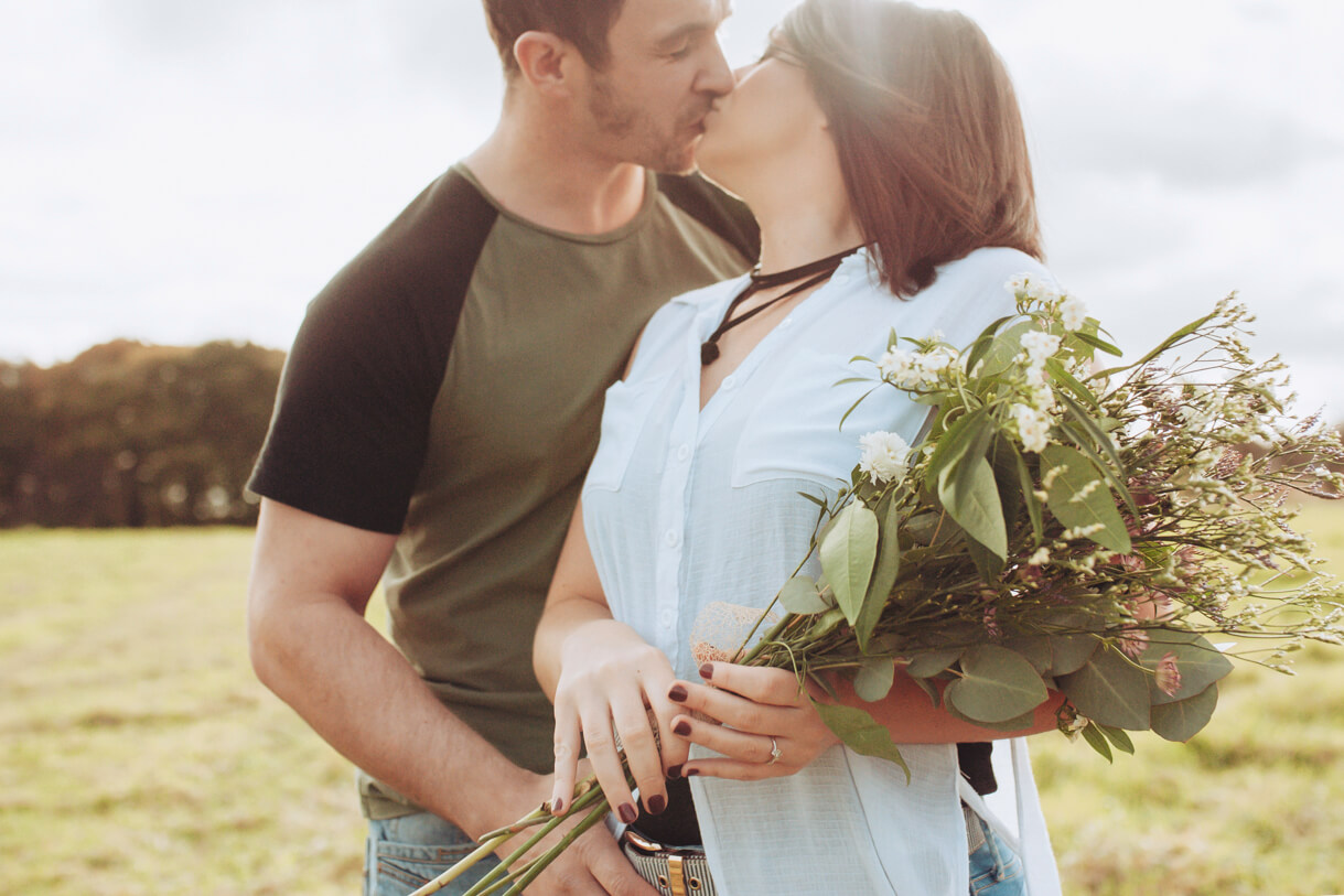 engagement shoot, couple kissing